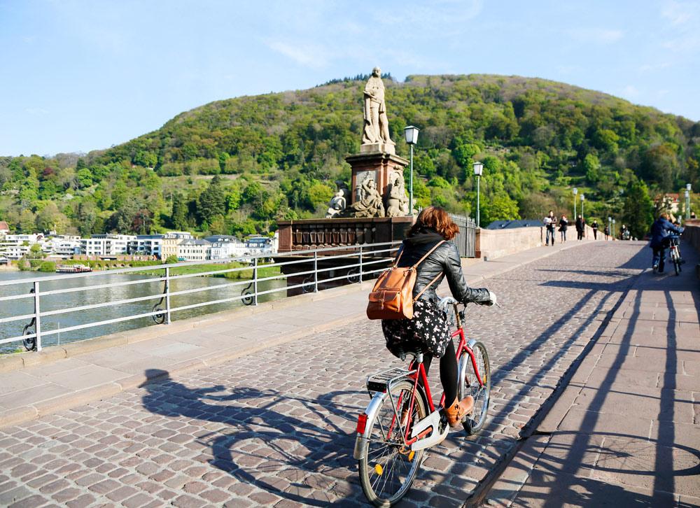 Bruggen over de Neckar verbinden de twee dele van Heidelberg. Fietsvakantie Die Bergstrass, Heidelberg, Duitsland, fiets, fietsroute, rondreis, standplaats
