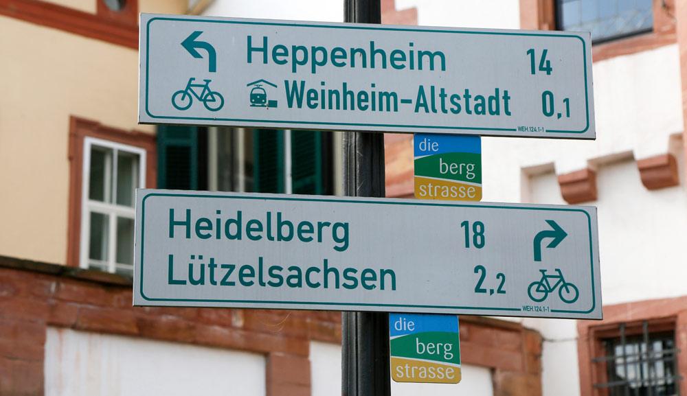 Nog 18 km dan zijn we weer in Heidelberg. Fietsvakantie Die Bergstrass, Heidelberg, Duitsland, fiets, fietsroute, rondreis, standplaats