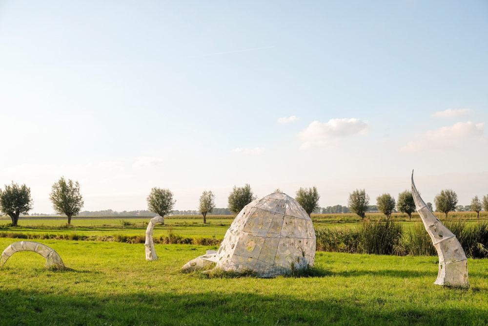 Kunstroute Dichter op het Land op Schokland met de Jellyfish van Elena Redaelli . Wandelen in Flevoland