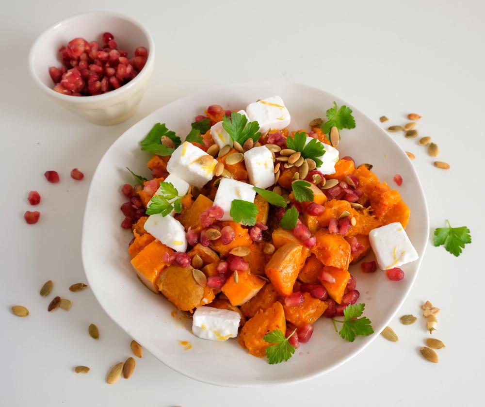 Recept voor pompoensalade met vegan feta