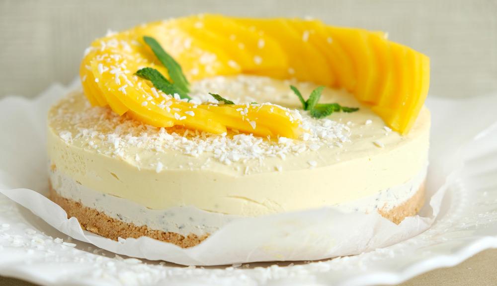 Geen ei of melkproducten nodig voor deze mango-munt ceesecake. no bake vegan munt-mango cheesecake met kokos, taart, veganistisch, plantaardig