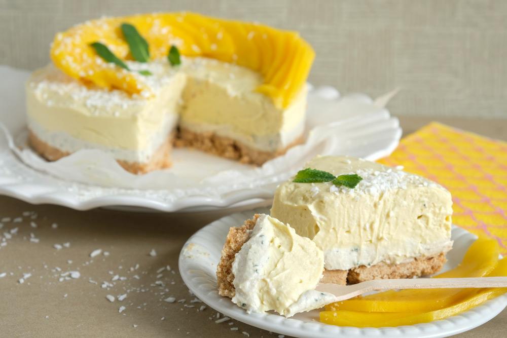 no bake vegan munt-mango cheesecake met kokos, taart, veganistisch, plantaardig