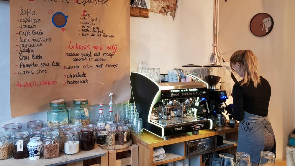 Zuco in Dokkum is ook de plek voor een goede espresso. Rondreis Waddenkust, Friesland, Dokkum