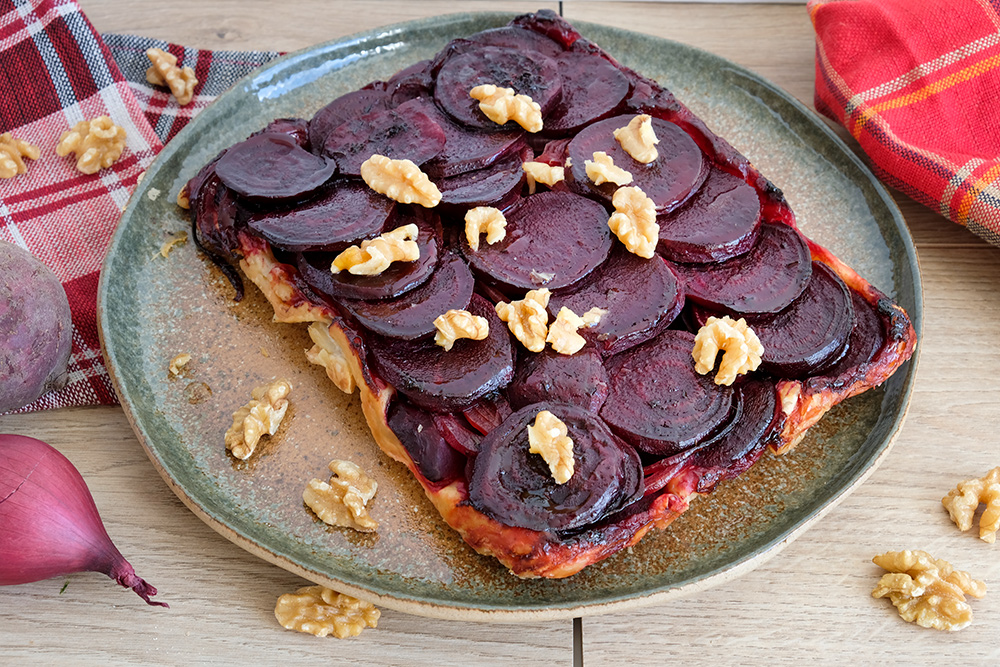Rode bieten tarte tatin, vegan groenten