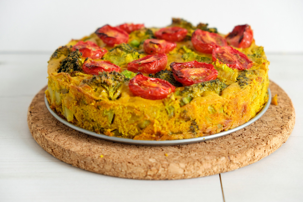 Is het een kikkererwtenmeel-quiche of -frittata?