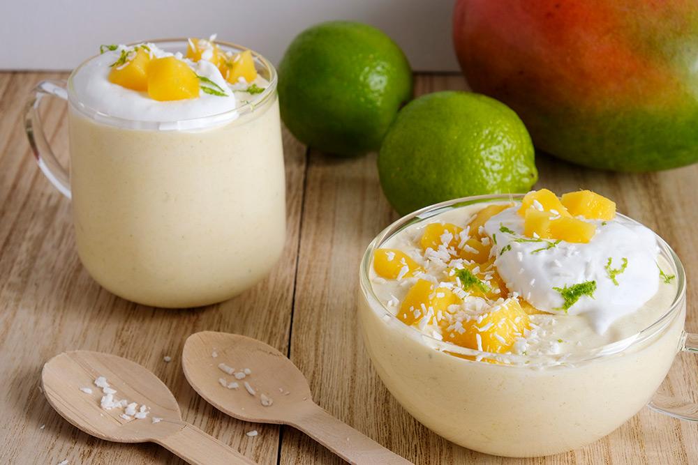 Romige mangomousse, vegan en fruitig