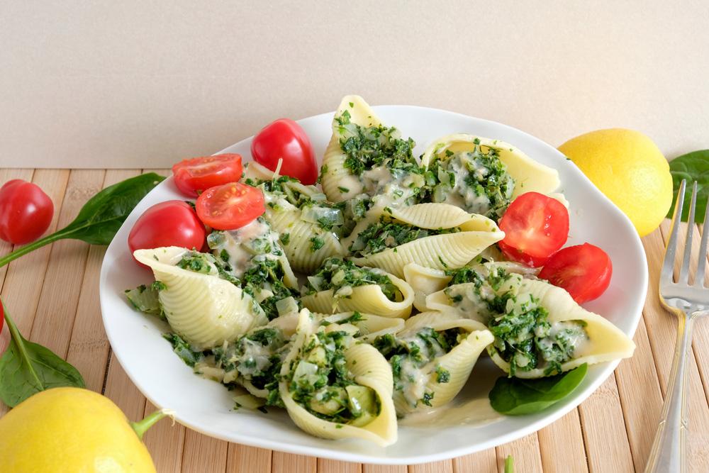 recept voor vegan spinazie-artisjok pasta