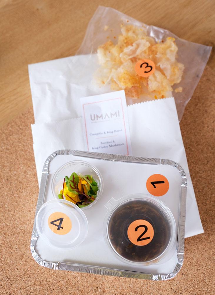 De hoofdgerechten zijn in vier eenvoudige stappen te bereiden, umami, thuisbezorgd maaltijden
